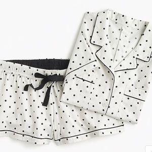 NWT J.Crew Pajama Set In Dots // Ivory Black Dot